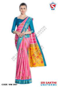 Silk Cotton Uniform Sarees Manufacturers