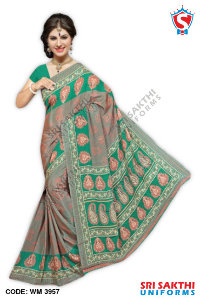 Silk Crape Uniform Saree Catalog