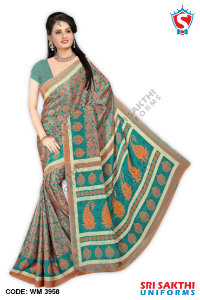 Silk Crape Uniform Saree Catalogs