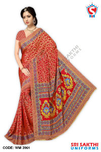 Silk Crape Uniform Saree Distributor