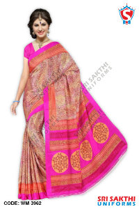 Silk Crape Uniform Saree Distributors