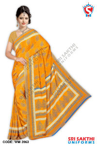 Silk Crape Uniform Saree Retailer
