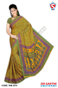 Silk Crape Uniform Saree Supplier