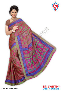 Silk Crape Uniform Saree Suppliers