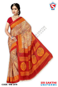 Silk Crape Uniform Saree Wholesaler