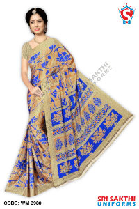Silk Crape Uniform Saree Wholesalers