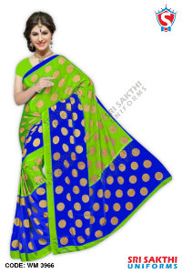 Silk Crape Uniform Sarees Catalogs