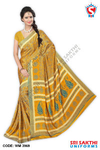 Silk Crape Uniform Sarees Distributor