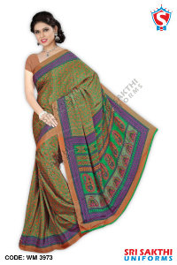 Silk Crape Uniform Sarees Supplier