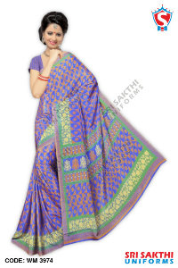 Silk Crape Uniform Sarees Suppliers