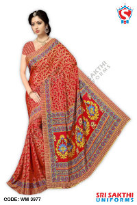 Silk Crape Uniform Sarees Wholesaler