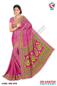 Silk Crape Uniform Sarees Wholesalers