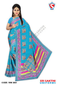 Turkey Crape Uniform Sarees Manufacturer