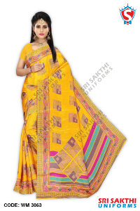 Turkey Crape Uniform Sarees Retailer