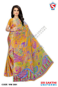 Turkey Crape Uniforms Sarees Wholesaler